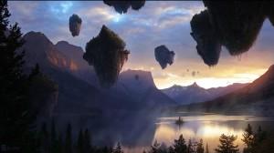 avatar-fantasy-mountain-lake-landscape-nature-floating-island-sunset-evening