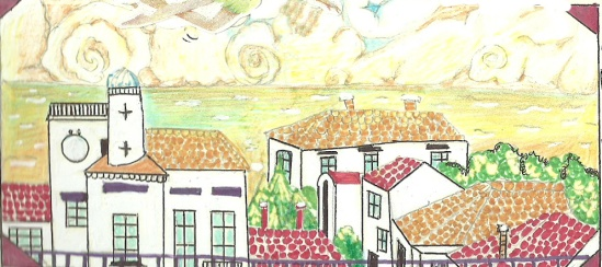 "The city I saw in my dreams looked a bit like the French city "" Saintes-Marie-de-la-Mer"" and look at the strange spiral clouds in the drawing. This is what I saw in my dream."